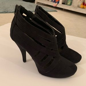 4' Heel Black Suede Booties 7.5